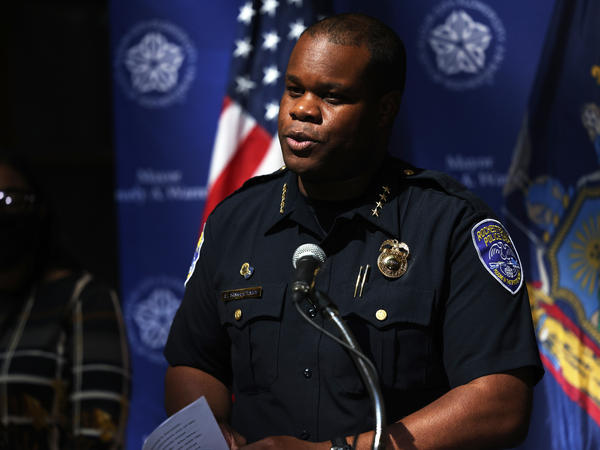 Rochester, N.Y., Police Chief La'Ron Singletary, pictured at a press conference Sunday, resigned on Tuesday along with other senior police staff.