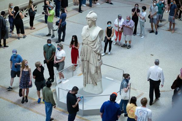 Visitors line up as the Metropolitan Museum of Art in New York reopens to the public on August 29, 2020.(KENA BETANCUR/AFP via Getty Images)