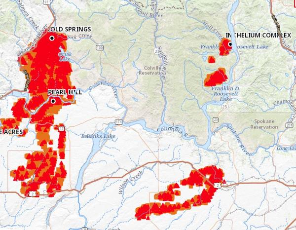 The reservation of the Colville Confederated Tribes is bound on several sides by the Columbia River. The Cold Springs Fire spread across its western side on Labor Day 2020, while smaller timber fires broke out around Inchelium on the eastern side.
