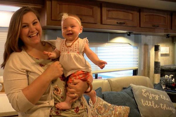 Navy spouse Kellie Kopec lived in an RV with her husband and seven month old daughter as they waited for a waiver that would allow them to complete their move from California to Virginia.