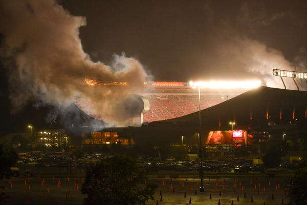 Fireworks went off at Arrowhead Stadium after the Chiefs