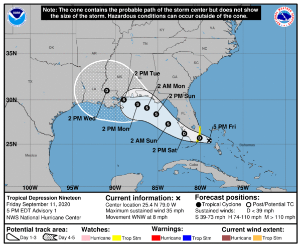 Tropical Depression 19 is currently expected to strengthen into a tropical storm and make landfall near the border of Louisiana and Mississippi.