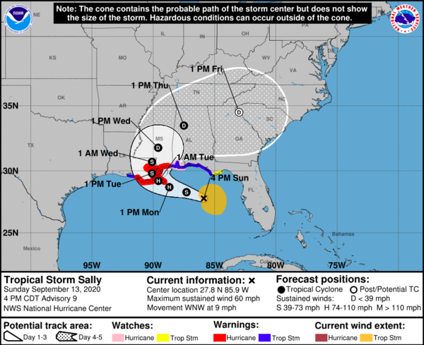 Tropical Storm Sally is expected to make landfall Tuesay.