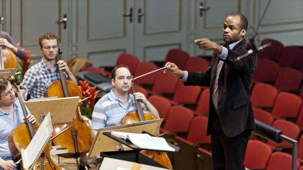 Conductor Brandon Keith Brown at work. (Courtesy)