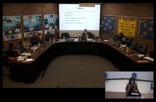 Peoria Public Schools Superintendent Sharon Desmoulin-Kherat addresses the District 150 Board of Education during Monday's meeting.