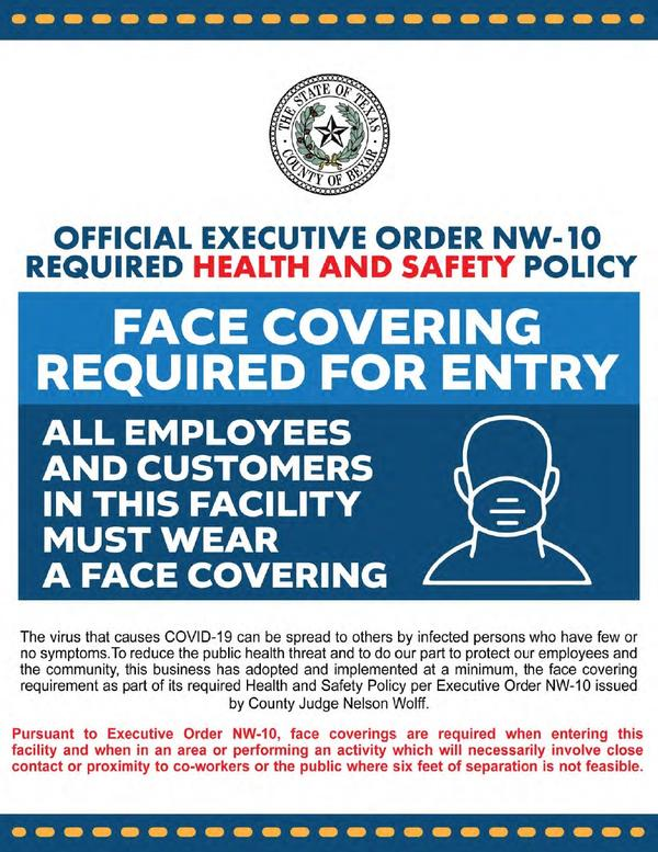The poster the county offered to businesses to post in their establishments to explain the new executive order to customers.