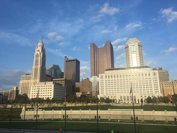 The city of Columbus, as seen from the Main Street bridge.