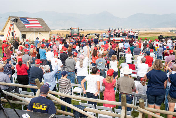Vice President Mike Pence speaks to a crowd of more than 700 people during a rally outside Belgrade on Sept. 14, 2020.
