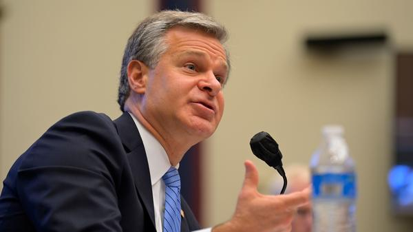 FBI Director Christopher Wray testifies before a House Homeland Security Committee hearing on Thursday.
