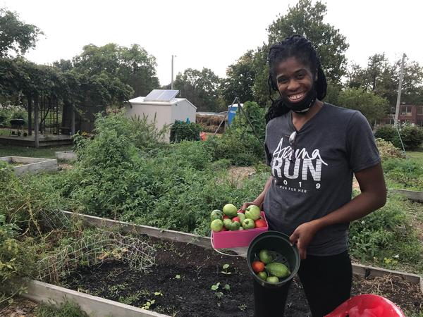 """Ja Nelle Pleasure relies on her garden for fresh fruits and vegetables. """"Vegetables are expensive at the grocery store,"""" she says."""