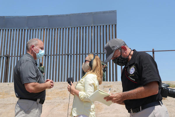 U.S. Customs and Border Protection Acting Commissioner Mark Morgan (left) interviewed by KTEP's Angela Kocherga during a visit to El Paso on Aug. 26, 2020.