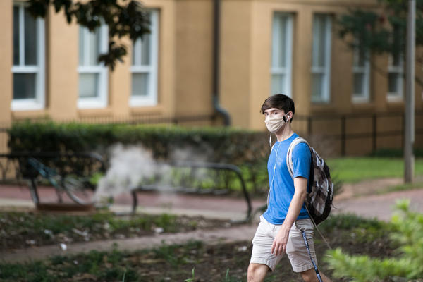 A student walks on campus at the University of South Carolina on September 3, 2020 in Columbia, South Carolina. (Sean Rayford/Getty Images)