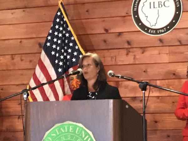 Advance Illinois President Robin Steans speaks at an Illinois Legislative Black Caucus press conferemce.