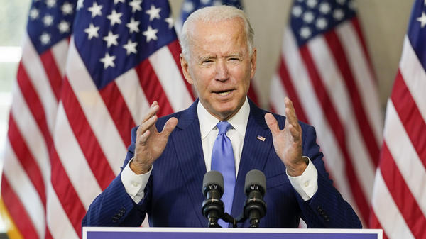 Democratic presidential nominee Joe Biden speaks at the National Constitution Center in Philadelphia on Sunday about the Supreme Court following Justice Ruth Bader Ginsburg's death.