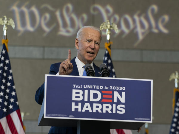 Democratic presidential candidate Joe Biden speaks about the future of the Supreme Court on Sunday at the National Constitution Center in Philadelphia.