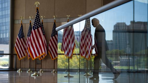Democratic presidential nominee Joe Biden leaves after speaking Sunday at the National Constitution Center in Philadelphia.