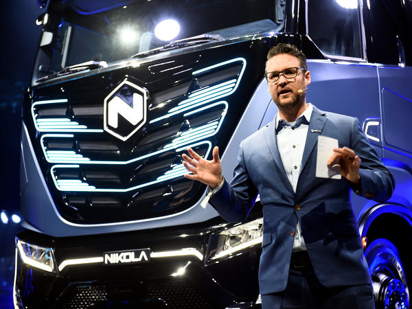 Trevor Milton, the founder of Nikola, speaks during a presentation in Turin, Italy December 2, 2019. Milton resigned as executive chairman over allegations that he made misleading claims about the company's technology. Milton has denied the accusations.