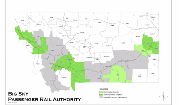 A map shows which counties have signed on to participate in the Big Sky Rail Authority, September 1, 2020.
