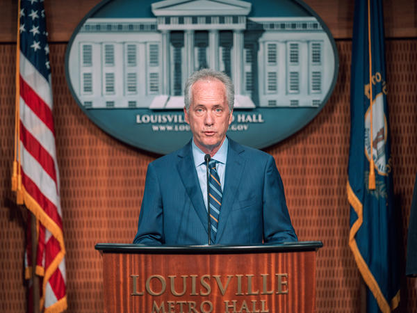 Louisville, Ky., Mayor Greg Fischer, here at a press conference this month, says he has no insight about when the state attorney general will make an announcement in the Breonna Taylor case but says the city must be prepared.