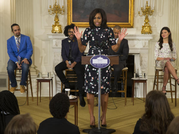 "Michelle Obama speaks during a 2016 event at the White House with the cast of the Broadway play ""Hamilton."""