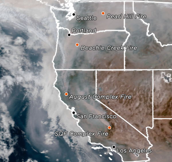 A satellite image shows smoke and some of the major fires in Western states on Sept. 13.