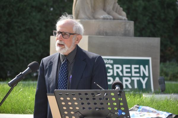 U.S. Senate candidate David Black of the Green Party holds a news conference in front of the Peace and Harvest sculptures at Main and Jefferson in downtown Peoria, Sept. 22, 2020.