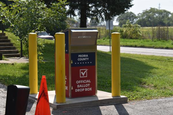 The new Peoria County ballot dropbox sits at the entrance to the Election Commission building, 4422 N. Brandywine Drive in Peoria.