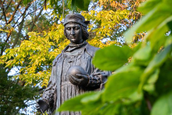 The Christopher Columbus statue at Bradley Park in the Uplands neighborhood.