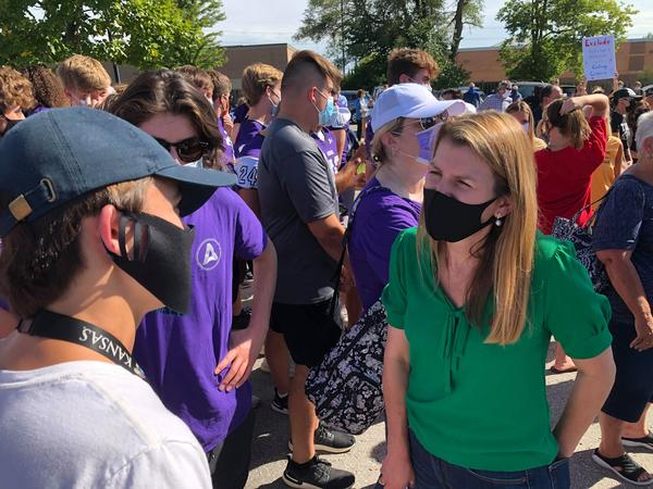 Republican congressional candidate Amanda Adkins attended an Aug. 27 rally outside the Blue Valley School district headquarters.