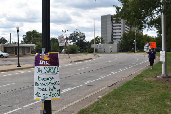 UICOMP employees unionized under SEIU Local 73, were striking along Main and Kumpf on Friday, Sept. 18, 2020.