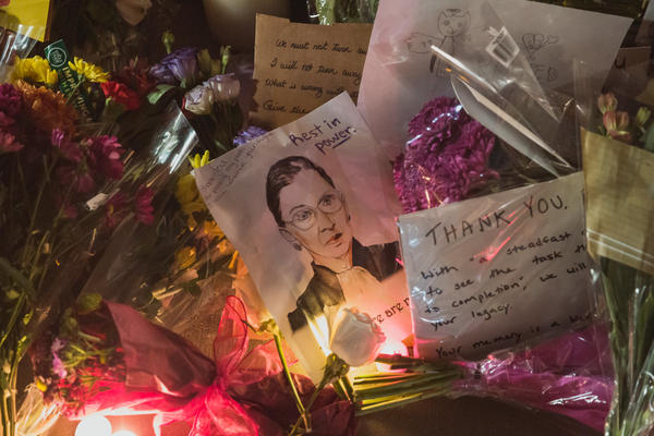 Offerings left for Ruth Bader Ginsburg during a vigil at the U.S. Supreme Court in Washington, D.C. on Sept. 19.