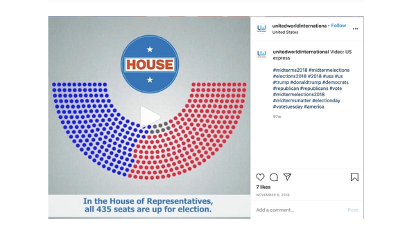 A screenshot of an Instagram post Facebook linked to Russia's Internet Research Agency. United World International was a phony website created by the Russian operation and promoted on social media.