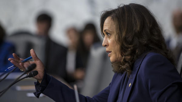 Sen. Kamala Harris, D-Calif., questions Supreme Court nominee Brett Kavanaugh during his 2018 confirmation hearing on Capitol Hill. That took place in the run-up to her presidential bid. Now, she'll face the spotlight as her party's vice presidential nominee.