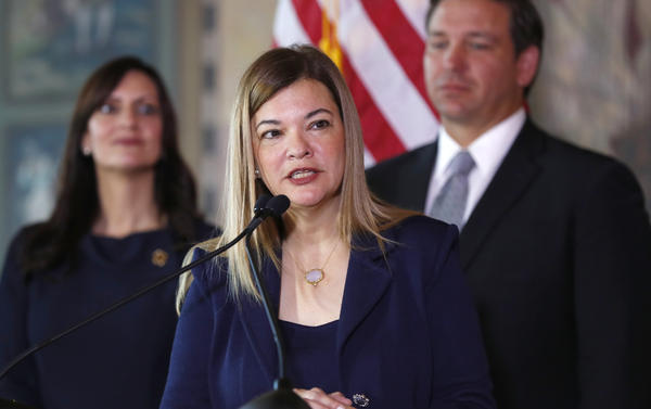 Barbara Lagoa speaks in January 2019 in Miami after Florida Gov. Ron DeSantis picked her for the state Supreme Court.
