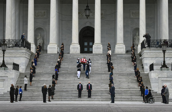 Justice Ruth Bader Ginsburg's casket leaves the U.S. Capitol.