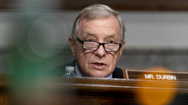 Illinois Democratic Sen. Dick Durbin speaks during a Senate Appropriations subcommittee hearing on Sept. 16.