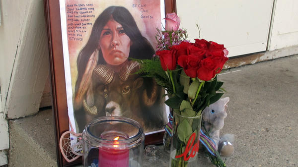 A memorial to Savanna LaFontaine-Greywind outside the apartment where Greywind lived with her parents in Fargo, N.D., pictured in 2017. Savanna's Act requires the Department of Justice to strengthen training, coordination and data collection in cases of murdered or missing Native Americans.