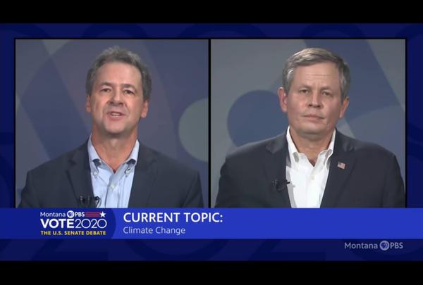 Democratic Gov. Steve Bullock and incumbent Republican Sen. Steve Daines face off during a MontanaPBS debate on Sept. 28, 2020.