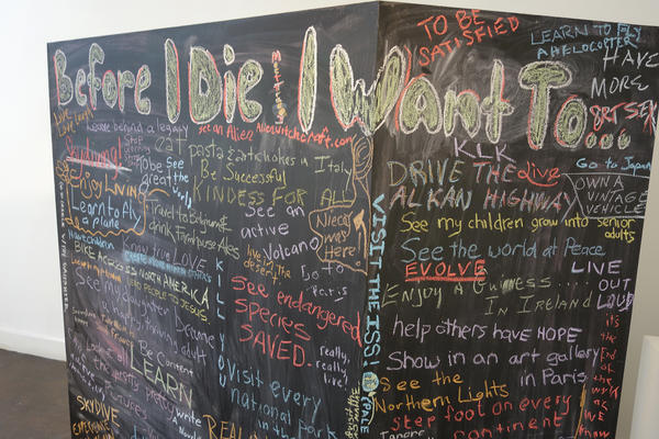 "A chalkboard ""bucket list"" stirred imaginations and got people talking at an Indianapolis festival designed to help make conversations about death easier."