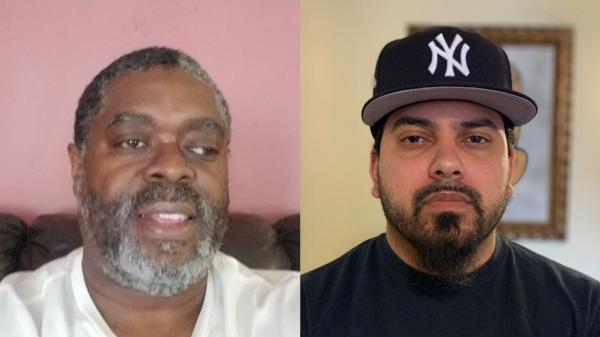 New York City MTA bus operators Tyrone Hampton (left) and Frank de Jesus spoke last week about how the coronavirus pandemic has affected their work. They talked during a remote <em>StoryCorps</em> conversation.