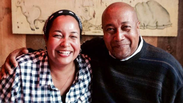 During a remote StoryCorps conversation, Erin Haggerty, left, told her father, George Barlow, how his words saw her through the tough times she faced as one of the only Black kids in her Iowa City community.