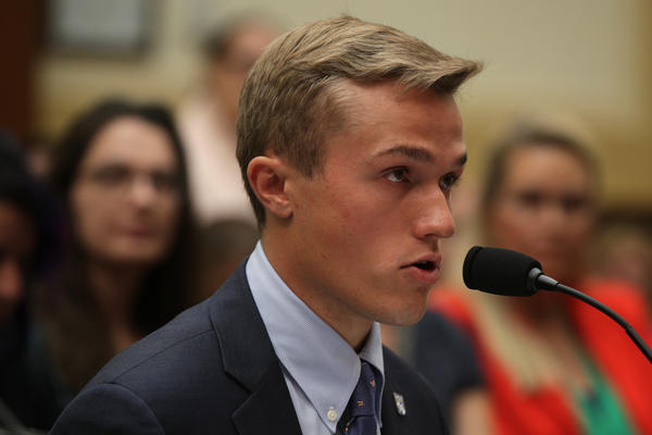 Benji Backer, president of the American Conservation Coalition, testifies about climate change during a U.S. House hearing in 2019.