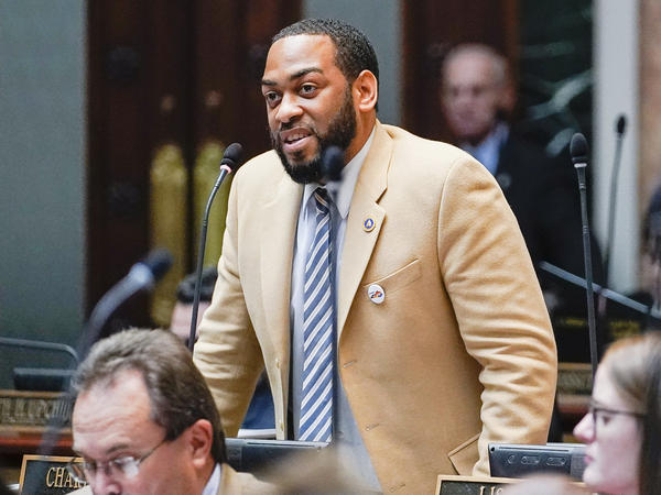 Kentucky Democratic State Sen. Charles Booker advocates for the passage of Kentucky HB-12 on the floor of the House of Representatives in the State Capitol, Frankfort, Ky., on  Feb. 19, 2020.