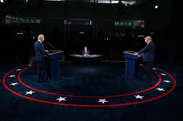 President Donald Trump and Democratic presidential nominee Joe Biden participate in the first presidential debate at the Health Education Campus of Case Western Reserve University on September 29, 2020 in Cleveland, Ohio. (Olivier Douliery-Pool/Getty Images)
