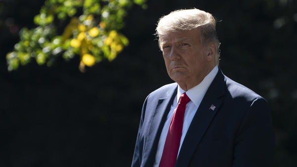 A contentious scenario could play out if President Trump disagrees with assessments of his ability to perform in office, says John Fortier, former executive director of the Continuity of Government Commission. Trump is seen here preparing to leave the White House earlier this week for a fundraising event and campaign rally in Minnesota.
