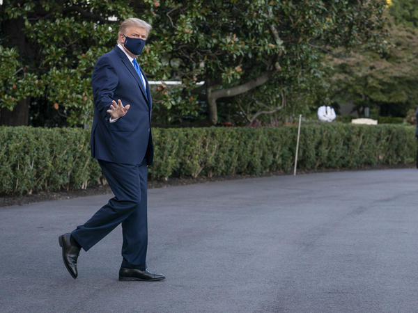 U.S. President Donald Trump before being taken to Walter Reed National Military Medical Center.