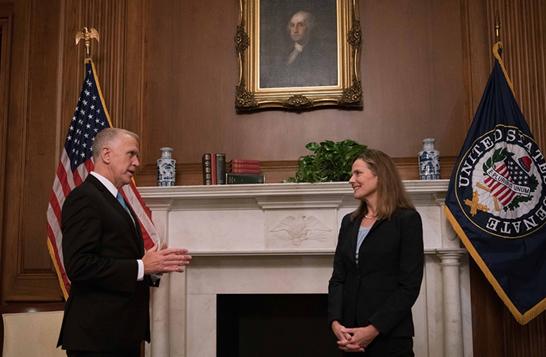 Sen. Thom Tillis meets with Supreme Court nominee Amy Coney Barrett.