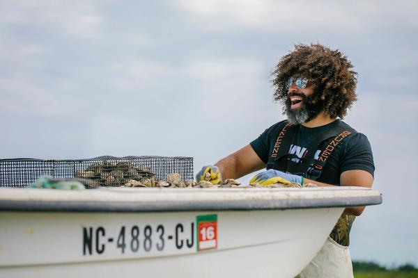 Ryan Bethea farms and sells fresh oysters through his business, Oysters Carolina, on Harkers Island.