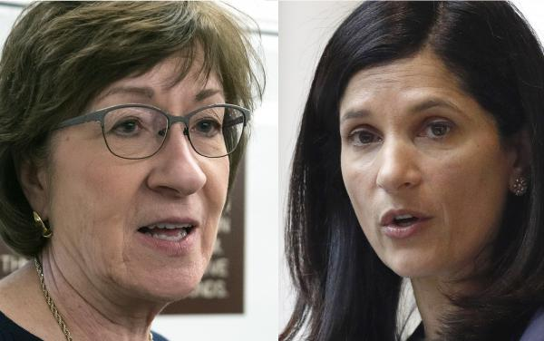 Republican U.S. Sen. Susan Collins (left) of Maine faces a tough challenge from Democratic Maine House Speaker Sara Gideon.