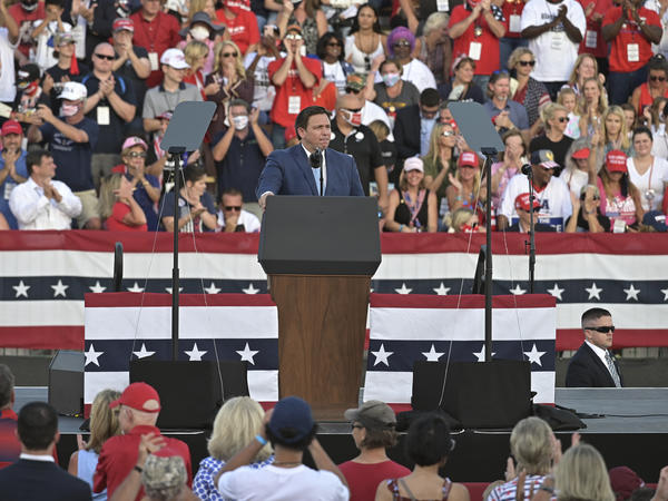 Florida Gov. Ron DeSantis speaks to supporters at a campaign rally for President Donald Trump last month in Jacksonville, Fla.